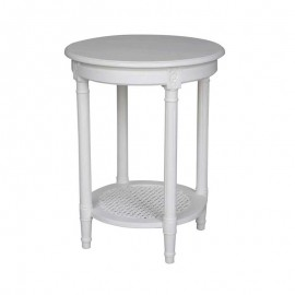 POLO ROUND SIDE TABLE WHITE OCCASIONAL TABLE