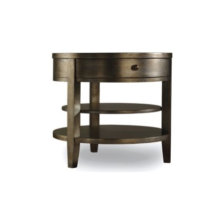 SANCTUARY ONE DRAWER ROUND LAMP TABLE