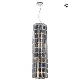MODULAR CYLINDER CRYSTAL PENDANT - ROUND - HEIGHT 92CM - SMOKE CRYSTAL