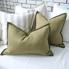 PRUDENCE LINEN CUSHION - Khaki