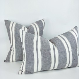 CHARMAYNE LINEN CUSHION GREY STRIPE